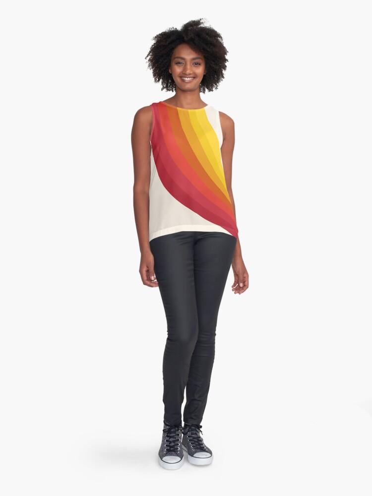Alternate view of 4-Sho - retro 70s style throwback vibes 1970's trendy decor art minimalist rainbow stripes Sleeveless Top
