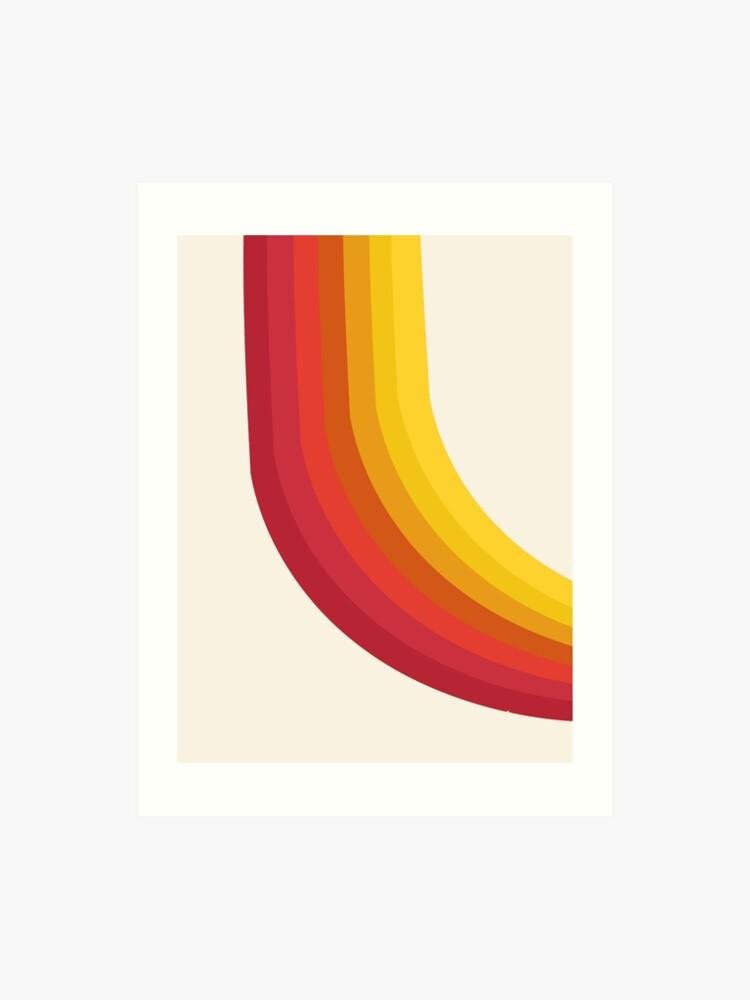 4-Sho - retro 70s style throwback vibes 1970's trendy decor art minimalist  rainbow stripes | Art Print