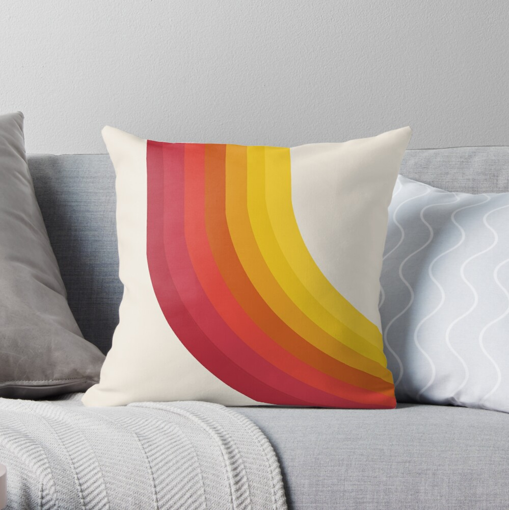 4-Sho - retro 70s style throwback vibes 1970's trendy decor art minimalist rainbow stripes Throw Pillow