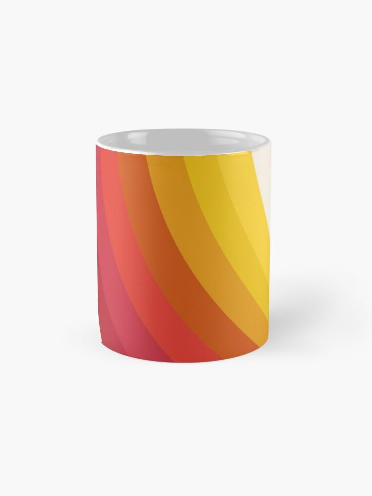 Alternate view of 4-Sho - retro 70s style throwback vibes 1970's trendy decor art minimalist rainbow stripes Mug