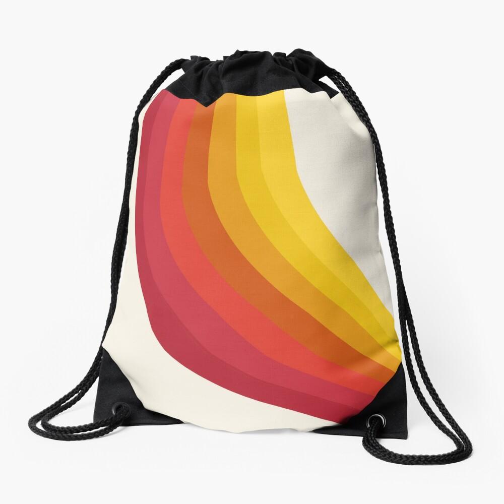 4-Sho - retro 70s style throwback vibes 1970's trendy decor art minimalist rainbow stripes Drawstring Bag
