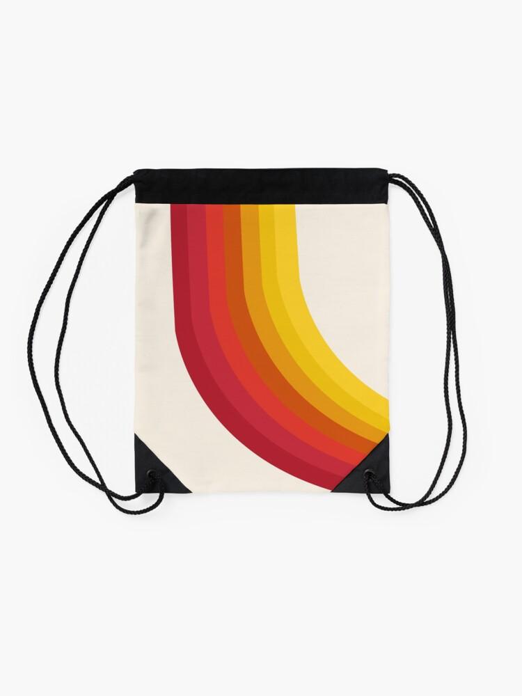 Alternate view of 4-Sho - retro 70s style throwback vibes 1970's trendy decor art minimalist rainbow stripes Drawstring Bag