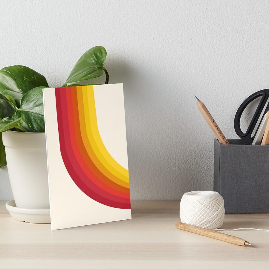 4-Sho - retro 70s style throwback vibes 1970's trendy decor art minimalist rainbow stripes Art Board Print