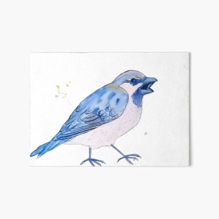 Blue Sparrow with Attitude Art Board Print