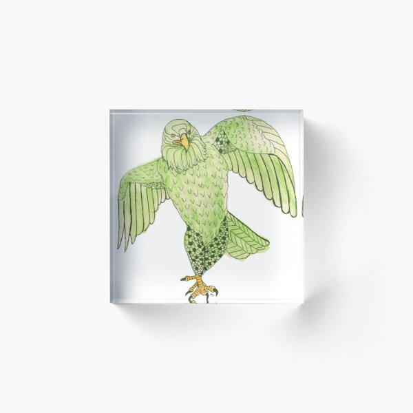 Strutting Eagle in Green Acrylic Block