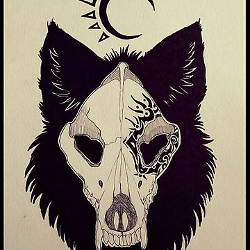 Tribal Wolf skull Pattern by HidingMonster