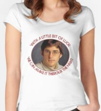 With a little bit of luck, we can make it Theroux the night - Louis Theroux Women's Fitted Scoop T-Shirt