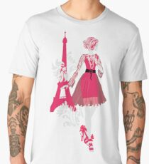 Stylish fashion woman pink and black silhouette with Eiffel Tower Men's Premium T-Shirt