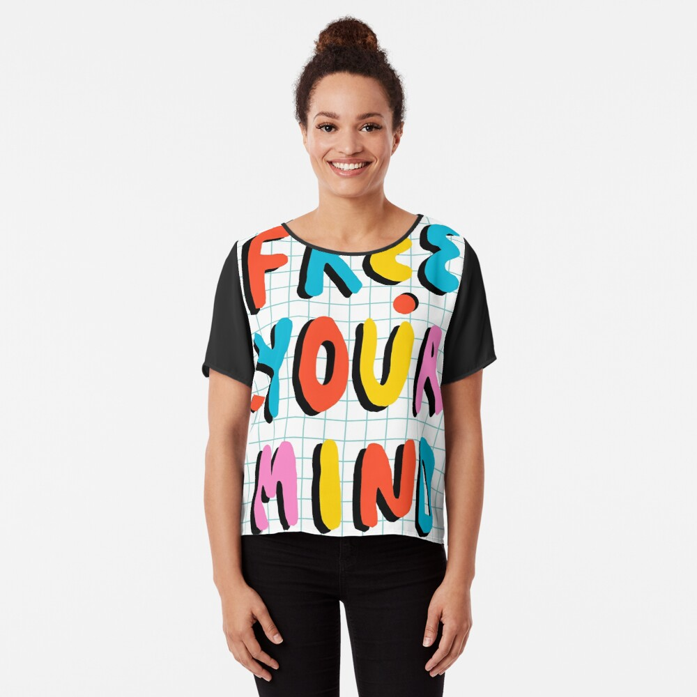 Hella' - retro 80's throwback vibes typography neon positivity  Chiffon Top
