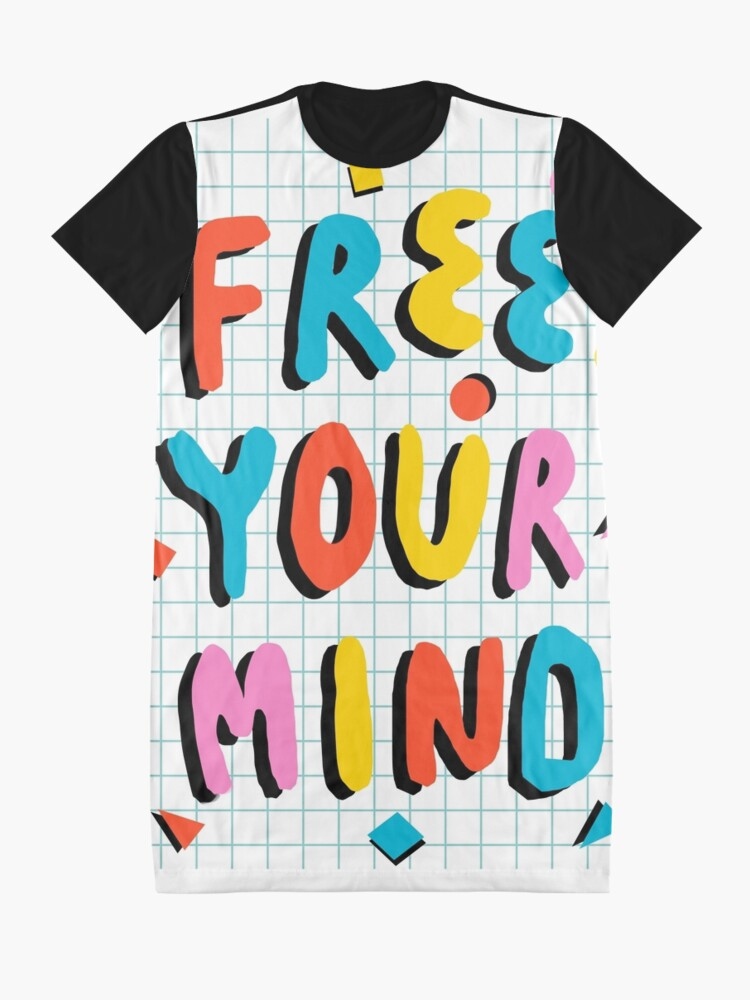 Alternate view of Hella' - retro 80's throwback vibes typography neon positivity  Graphic T-Shirt Dress