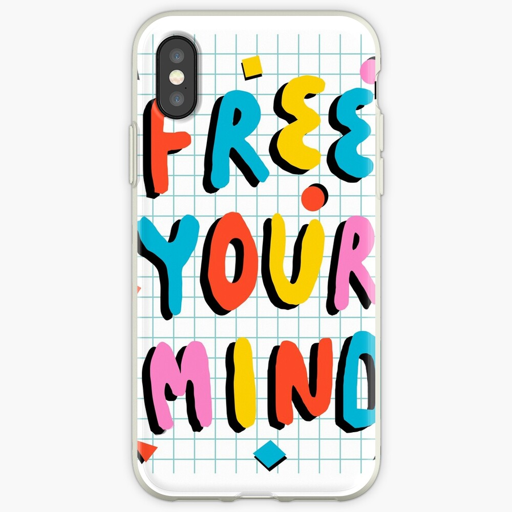 Hella' - retro 80's throwback vibes typography neon positivity  iPhone Case & Cover