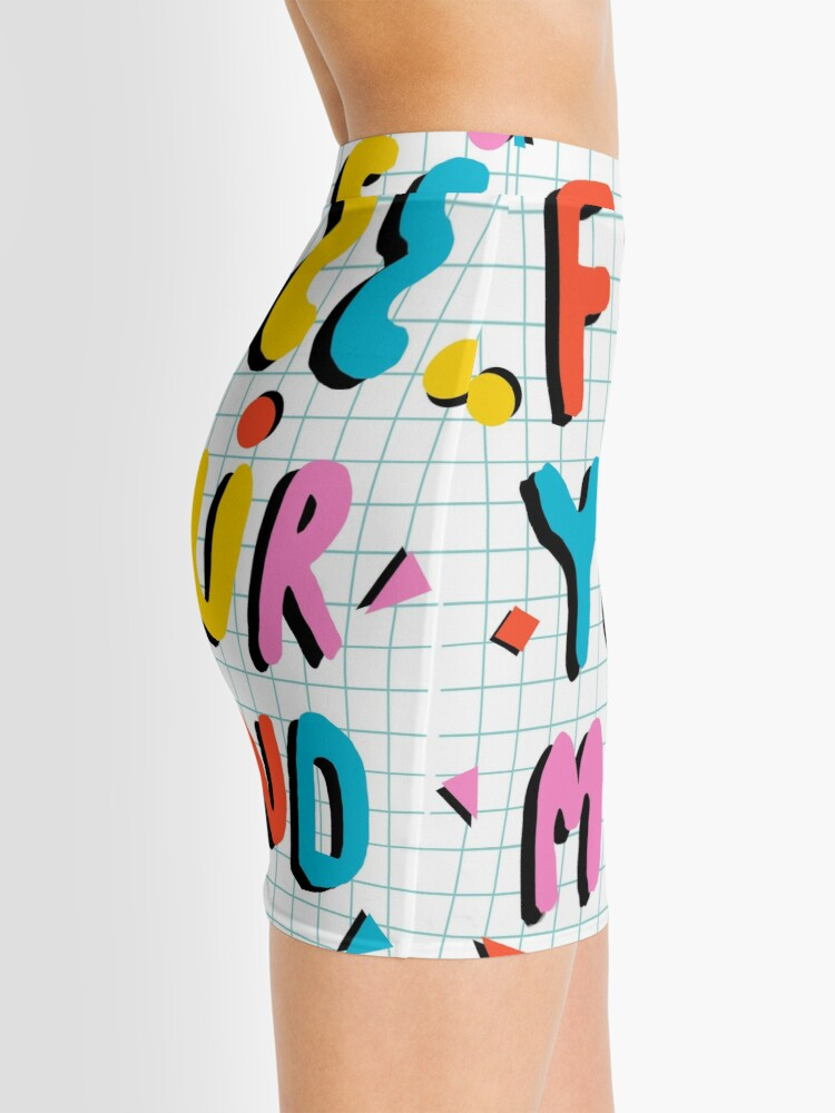 Alternate view of Hella' - retro 80's throwback vibes typography neon positivity  Mini Skirt