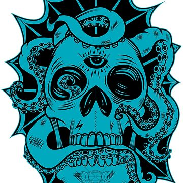 Tenta-Skull Black and Blue by GrimCraft