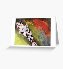 Playful painting of colorful koi fish swimming in a pond Greeting Card