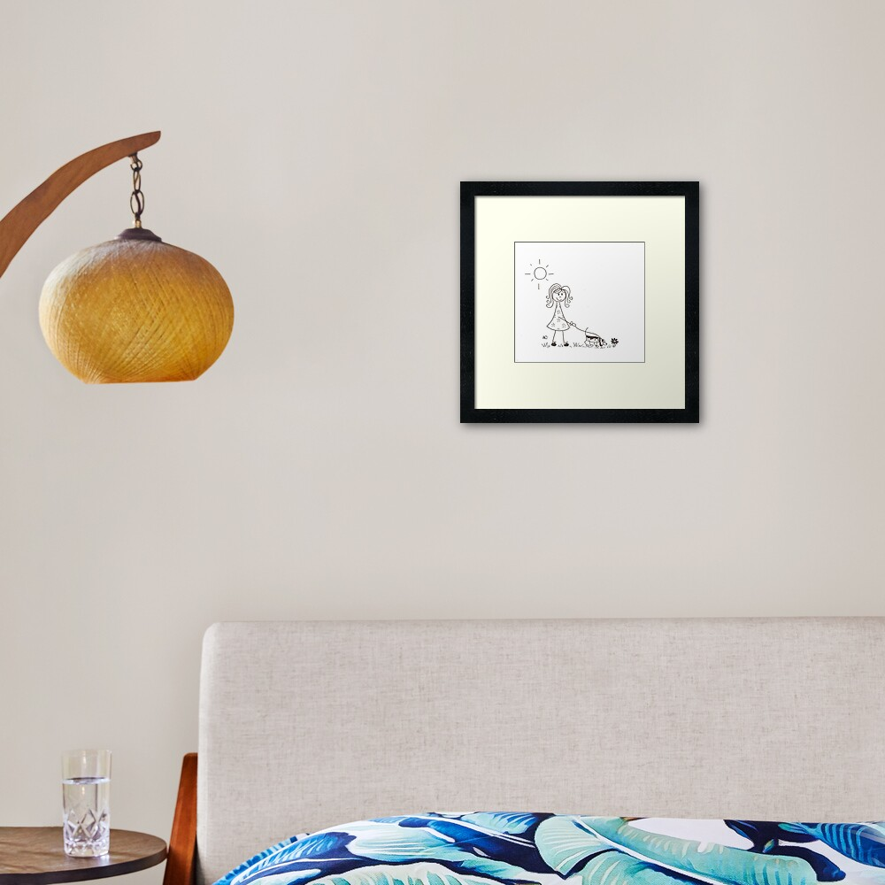 Stick figure walking her dog Framed Art Print