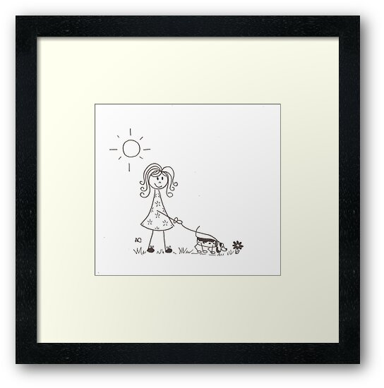 Stick figure walking her dog by iCraftCafe