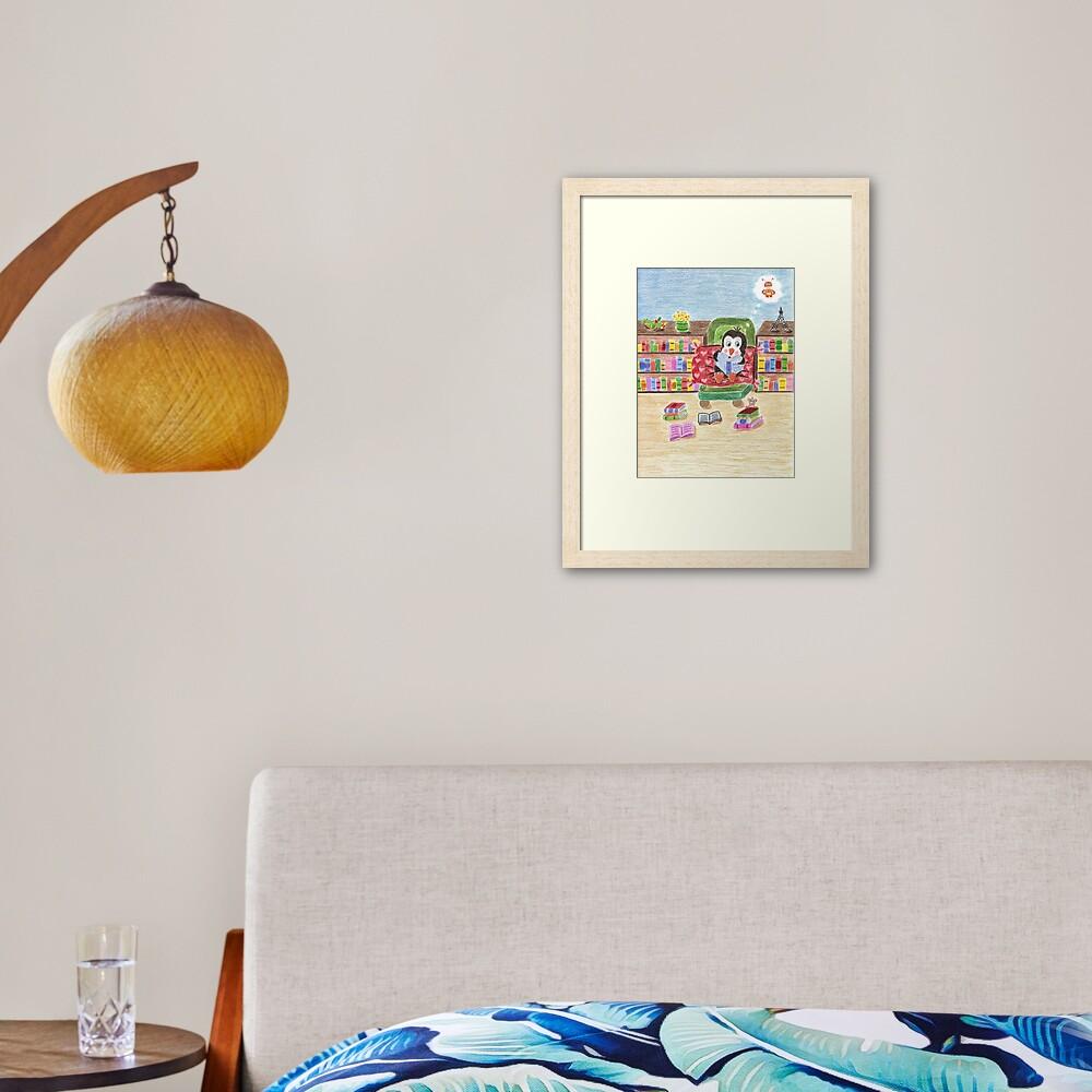 Smart Reading Penguin Framed Art Print