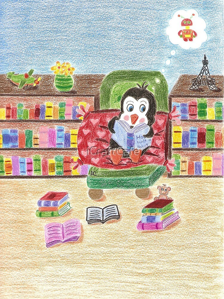 Smart Reading Penguin by iCraftCafe
