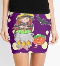 Halloween witch 1 on a fun purple background Mini Skirt