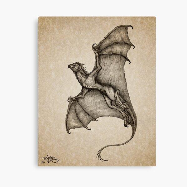 """Hurricane Wyvern"" by artist Amber Marine ~ (Copyright 2016) ~ Ink & Graphite Dragon Art Canvas Print"