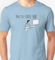 Man In Striped Shirt T-Shirt