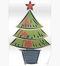 Cartoon Christmas Tree Poster