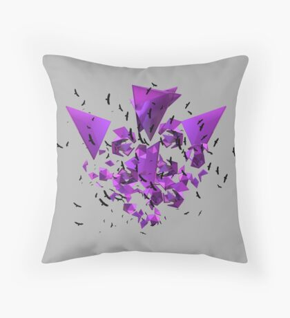 3D Geometry and Birds Flying Throw Pillow