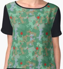 Funny dogs playing Women's Chiffon Top