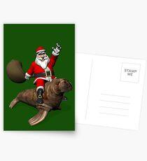 Santa Claus Riding A Walrus Postcards