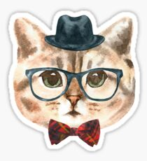 Cat w/Hat, Glasses and Bow Tie Sticker