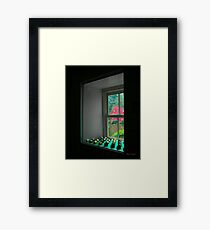 The Red Mill Thru the Window Framed Print