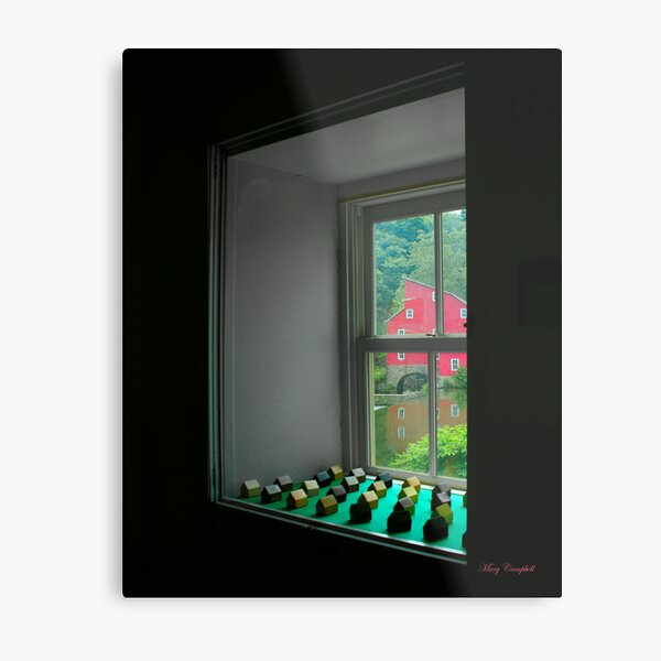 The Red Mill Thru the Window Metal Print