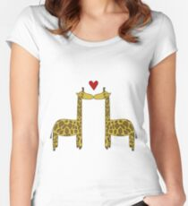 Giraffes in love Women's Fitted Scoop T-Shirt