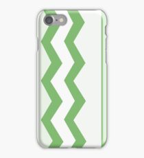 Abstract, geometric, zigzag, strips- green and white. iPhone Case/Skin