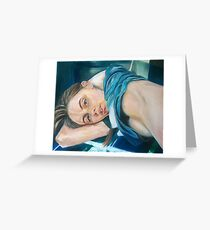 portrait oil painting girl realism woman Greeting Card