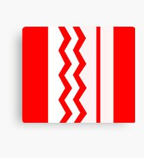 Abstract, geometric, zigzag, strips - red and white. Canvas Print