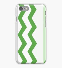 Abstract, geometric, zigzag, strips - green and white. iPhone Case/Skin