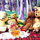 Teddy Bears Enjoying their HONEY on their Picnic by Virginia McGowan