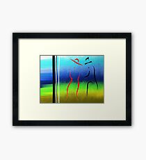 Evening Stroll Silhouette of Two Lovers Framed Print