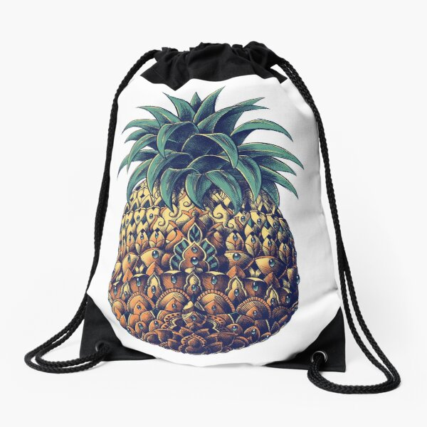 Ornate Pineapple (Color Version) Drawstring Bag