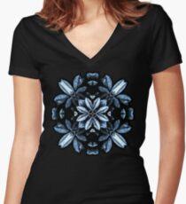 Metallic Leaves Mandala Women's Fitted V-Neck T-Shirt