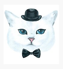 White Cat w/Black Hat and Tie Photographic Print