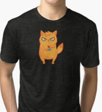 Neon Cat Funny Violent Gamers Lag Gaming Kitten Tri-blend T-Shirt