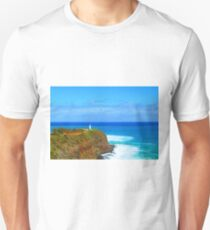 lighthouse on the green mountain with blue ocean and blue sky view at Kauai, Hawaii, USA T-Shirt