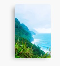 green mountain and ocean view at Kauai, Hawaii, USA Canvas Print