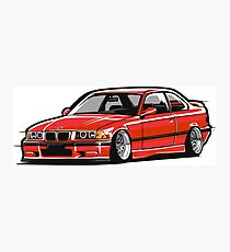 Stanced out E36 Red Photographic Print