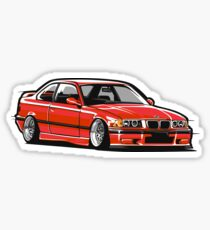 Stanced out E36 Red Sticker
