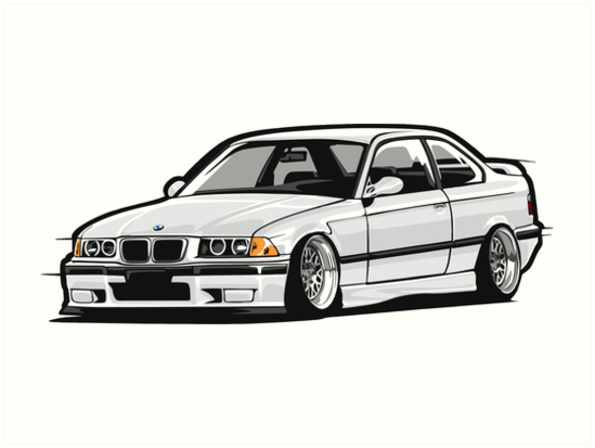 Stanced Out E36 White By StickerNation