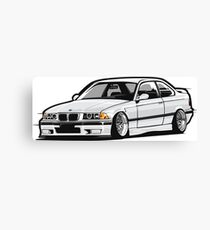 Stanced Out E36 White Canvas Print