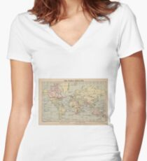 Vintage Map of The World (1914)  Women's Fitted V-Neck T-Shirt